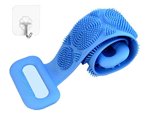 Price comparison product image HCN7 Silicone Bath Body Brush Exfoliating Silicone Body Scrubber with Soft Tips Silicone Shower Scrubber for Your Back Ergonomic Silicone Loofah for Women and Men Silicon Back Scrubbers - Long