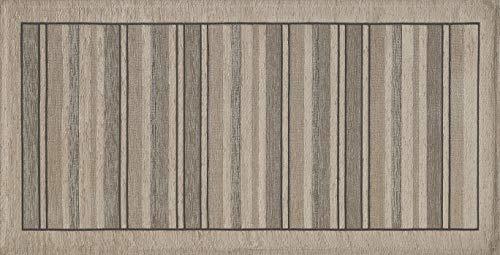 HomeLife Tappeto Cucina Antiscivolo 55X190 Made in Italy | Passatoia Moderna Colorata Effetto Rigato | Tappeto Runner Lungo Lavabile [55X190, Tortora]