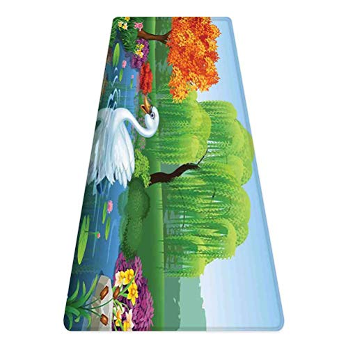 SoSung Cartoon Rug Runner,Artwork of a Swan Floats on Mountain River in The Vivid Nature Springtime,for Living Room Bedroom Dining Room,4'x 1.3', Green Blue Fuchsia