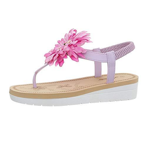 Ital-Design Damenschuhe Sandalen & Sandaletten Zehentrenner Gummi Lila Gr. 36