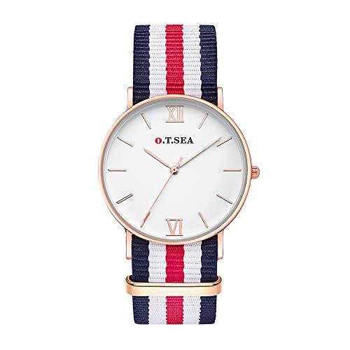 Souarts Damen Armbanduhr Geflochten Band Deko Quarz Uhr mit Batterie Charm Geschenk (Rot)