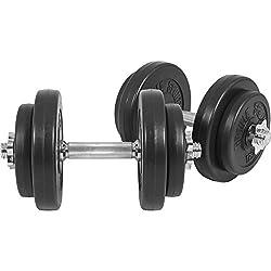 GORILLA SPORTS® Kurzhanteln 2er Set Kunststoff 20 kg – Hantelstangen, Gewichte und Sternverschlüsse gerändelt 30/31mm