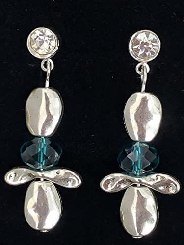 Anhur Pendientes Alas Libélula Cristal Verde Azulado Pendientes Mujer Pendientes Zamak