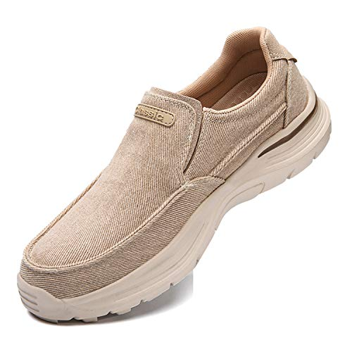 JAMONWU Mens Slip-On Loafer Walking Shoes Driving Sneakers Casual Cloth Shoes Lightweight Outdoor Shoes (9 US,B_Khaki)