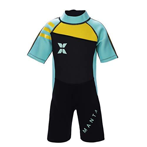 GWELL Jungen Mädchen Kinder Neoprenanzug 2.5MM Neopren Kurzarm Wäremehaltung UV-Schutz Tauchanzug Badeanzug für Wassersport Grün M
