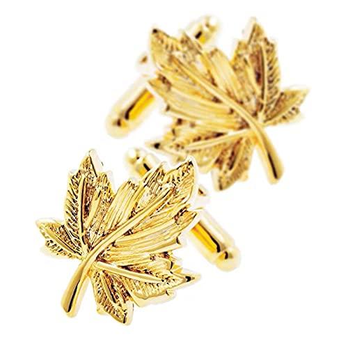 JUSTJING. Herren Light Luxury Gold Blatt Manschettenknöpfe, Damenhemd Manschettenknöpfe, französische Geschäft Manschettenknöpfe, Metallic Gold Ahornblatt