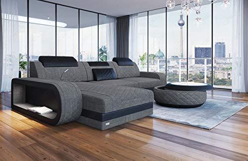 Sofa Dreams Chesterfield Stoff Couch Berlin L Form mit LED Beleuchtung erhältlich hochwertigen Stoffbezügen.