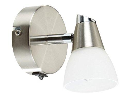 LED Strahler Wandlampe Wandleuchte Rio G9 2W 3000k Drehgelenk und Schalter nickel matt / Glas weiß