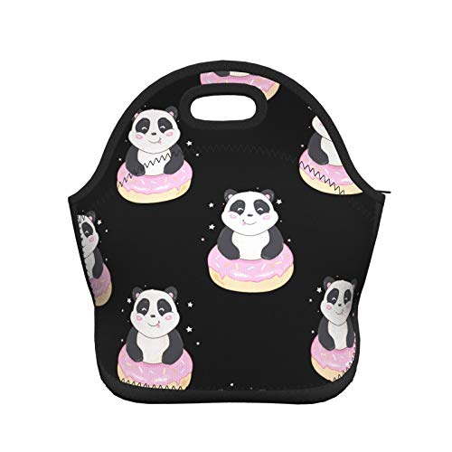 Women Men Kids Thermal Insulated Neoprene Lunch Bag Boxs,Durable Lunch Tote Bag Organizer Cooler Bento Bags Lunchbox Handbag for Work School Travel Cartoon Cute Panda And Pink Donuts