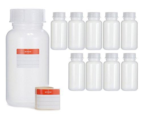 Octopus 10x 1000 ml botellas de cuello ancho de PEBD con tapa de rosca, botellas vacías de 1 litro de productos químicos, botellas de laboratorio con tapa como contenedor de almacenamiento