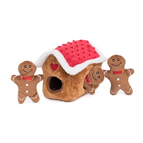 ZippyPaws - Holiday Burrow, Interactive Squeaky Hide and Seek Plush Dog Toy - Gingerbread House