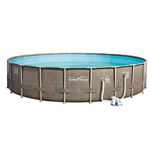 Summer Waves 22ft x 52in Elite Round Above Ground Wicker Frame Swimming Pool Kit -  P4N02252B167