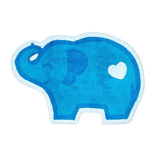 Homescapes Kinderteppich Blauer Elefant Bunter Teppich, Vorleger 60 x 85 cm. Farben: Blau und Weiß. Geeignet für Badezimmer oder Kinderzimmer.