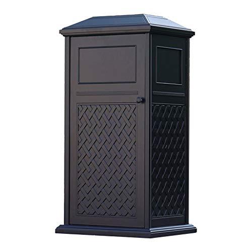 NYKK Basurero para Cocina Lujoso Cubo de Basura Cuadrado de Aluminio Fundido Villa al Aire Libre Jardín Papelera con cenicero Cubo De Basura Cubo de Basura para Exterior (Color : Black)