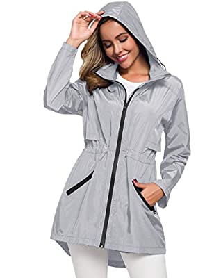 Womens All Weather Travel Coat Waterproof Trench Coats Slicker Jacket Grey S