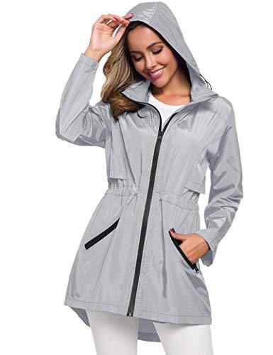 Womens All Weather Travel Coat Waterproof Trench Coats Slicker Jacket Grey S