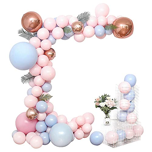 topxingch 112/115/126Pcs Birthday Balloons Sets, Blue White Pink Balloons Garland Arch Kit for Wedding Valentine's Day Party Graduation Prom Decorations C