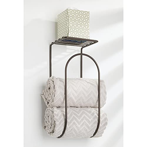 mDesign Modern Metal Wire Wall Mount Towel Rack Holder and Organizer with Storage Shelf - for Bathroom Towels, Washcloths, Hand Towels - Decorative Curved Design - Bronze