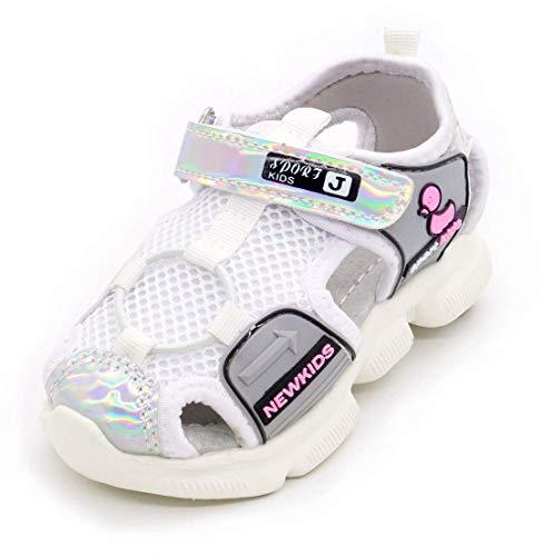 Children's Kids Sports Sandals Summer Outdoor Open Toe Beach Sandals Water Shoes for Boys Girls, White/1, 10.5 Little Kid