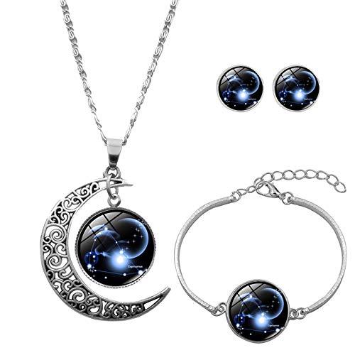12 regalos de collar de luna constelaciones de astrología signos del signo del signo del zodiaco, para mujer, fluorescente en forma de luna