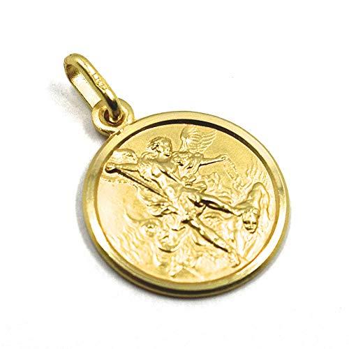 Colgante medalla San Miguel Arcángel, diámetro 1,3 cm, oro amarillo 750 18 K, sólido, protección, muy detallado