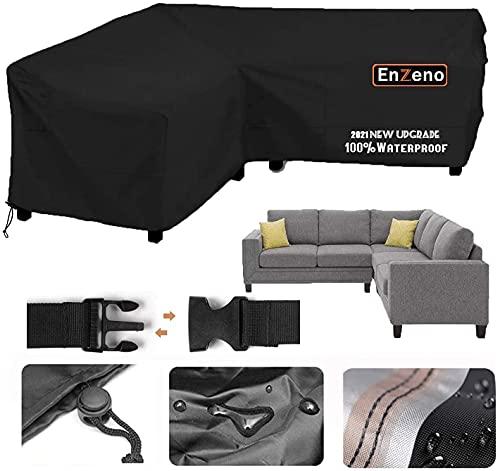 Enzeno Garden V-Shape Furniture Cover Waterproof, 420D Heavy Duty Oxford Fabric Outdoor Rattan Corner Sofa Cover with Waterproof Tape (255*255*87cm)