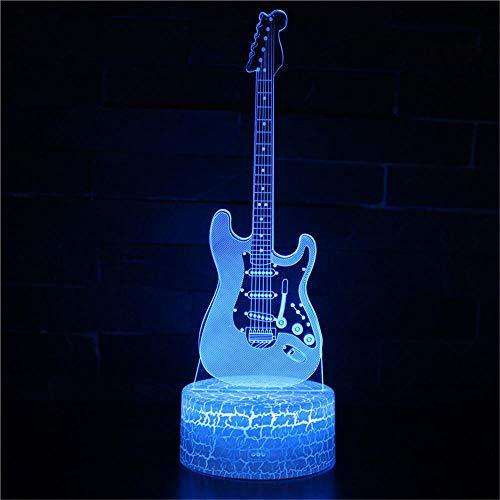 Lámpara de ilusión 3D para guitarra, luz de estado de ánimo, 7 colores que cambian de acrílico, luz nocturna, cables USB, decoración de escritorio, regalo de Navidad