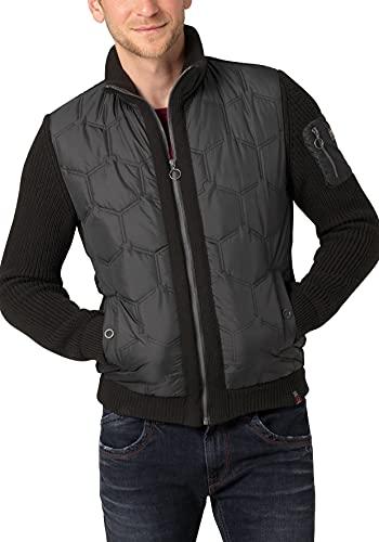 Timezone Padded Knit Jacket Maglione Cardigan, Caviale Nero, L Uomo