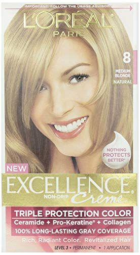 L'Oreal Paris Excellence Creme Permanent Hair Color, 8 Medium Blonde, 100% Gray Coverage Hair Dye, Pack of 1