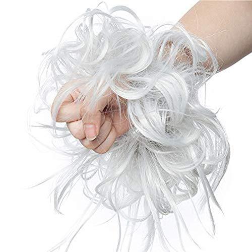 Messy Postiche Chignons Scrunchie Queue de Cheval Volumateur Chouchou Updos Fibre Synthétique Scrunchie Rajout Cheveux a Froid Extension Cheveux - Gris Argenté
