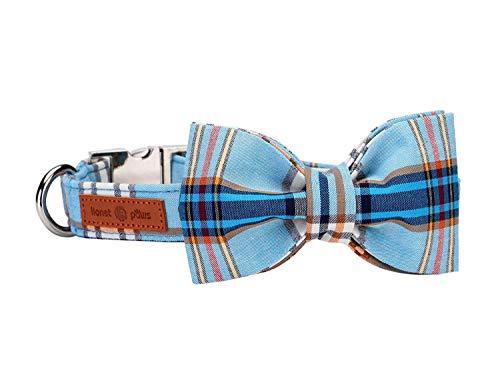 lionet paws Hundehalsband mit Fliege, Langlebiges Bequemes Baumwolle Halsband mit Metall-Klickverschluss für Hunde und Katzen, Hals 25-40cm