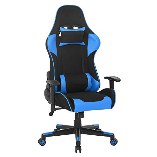 Gaming Chair, Office, Desk Chair, with Rocking Function, Gamer Chair, Adjustable Height, Swivel Chair, PC Chair, Ergonomic Executive Chair (Blue)