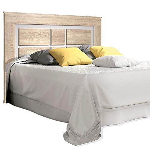 duehome HomeSouth - Cabezal para Cama de Matrimonio, cabecero Modelo Lara, Color Cambria y Blanco, Medidas: 160 cm (Ancho) x 119,3 cm (Alto) x 3,8 cm (Fondo)