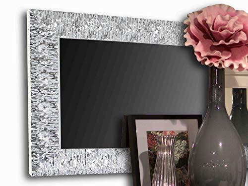 Specchio Moderno da Parete - Cornice Specchio per Ingresso, Camera, Soggiorno - Specchiera Argento Design Moderna - Specchiera Rettangolare Orizzontale o Verticale - per Arredamento Moderno 122X50cm