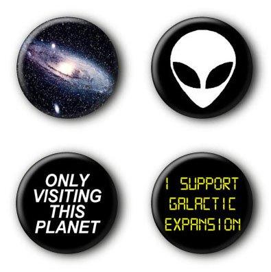 4 Weltraum Alien Galaxie Nerd Buttons Ansteckbuttons (2,5cm)