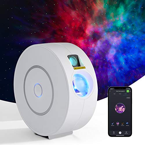 Galaxy Star Projector Control by Phone APP Compatible with Alexa and Google Assistant, Led Sky Light Laser Galaxy Projector with Static or Moving Nebula Clouds Stars for Bedroom and Party Decoration