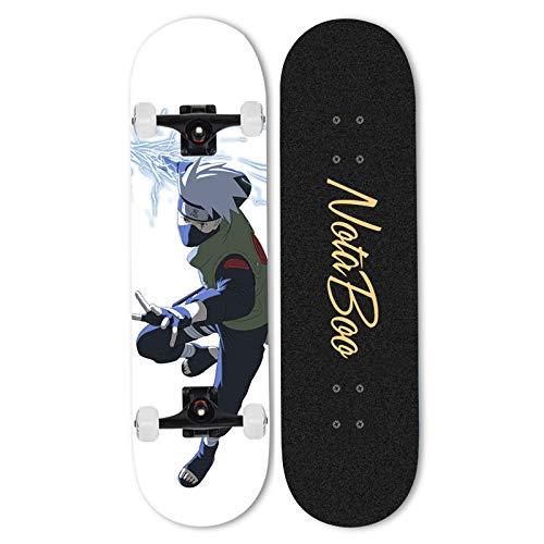 Ayyayy Siguiente: Hatake Kakashi Skateboard Niños Niñas Principiantes, Tabla de Arce de cuatro ruedas Deportes Skateboard 31 pulgadas X 8 pulgadas canadiense Maple Professional Cruiser