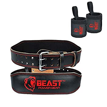 Beast Power Gear Weightlifting Belt 4  |Genuine Leather |Back Support |Cushion Padding |Durable Comfortable and Adjustable with Roller Buckle for Men and Women |Free Wrist Wrap