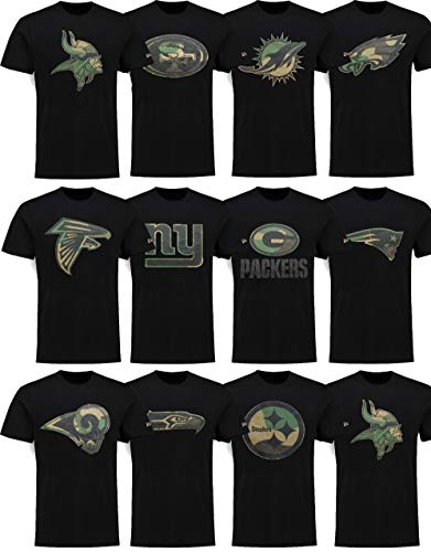 New Era New York Giants T Shirt Camo Logo Tee Black - L