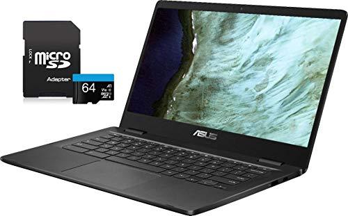 2020 Newest ASUS Chromebook Laptop, 14' HD LED-Backlit Screen, Intel Celeron N3350 Processor, 4GB Memory, 32GB eMMC SSD, Wi-Fi, Bluetooth, Webcam, Online Class, Chrome OS, KKE 64GB MicroSD Card, Grey