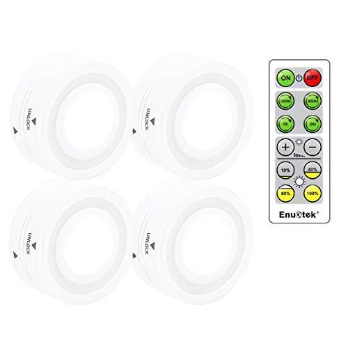 Batteriebetriebene LED Unterschrankleuchten Nachtlampe Dimmbar mit Drahtlose Fernbedienung Kaltweiß Beleuchtung 4er Lampen und 1er Fernbedienung von Enuotek