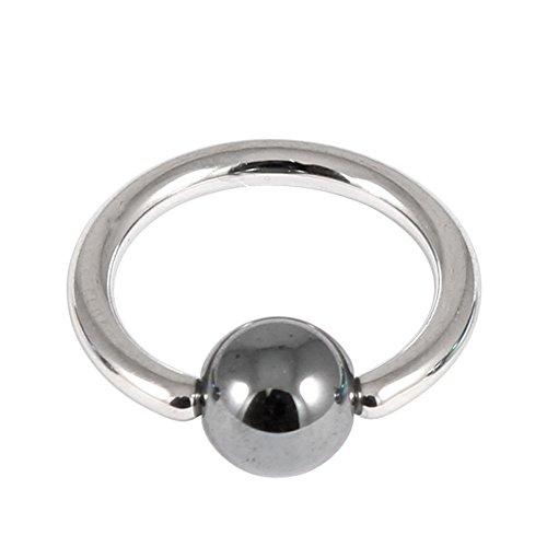 Joyería corporal de titanio estéril en bolsa estéril BCR de titanio con bola de hematita en pulido espejo, calibre 1,2 mm, diámetro interno de 12 mm, anillo de titanio