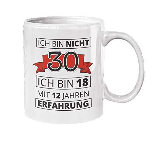 Close Up 30. Geburtstag Tasse Ich Bin Nicht 30 - weiß, aus Keramik, spülmaschinengeeignet, Fassungsvermögen ca. 320 ml.