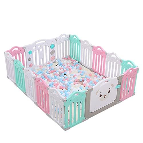 Opvouwbare Babyboxen, Veiligheidsactiviteitencentrum Met Patroonslotdeur, Antislip Rubberen Basen, Grote Baby Hekbollen Met 14 Activiteitenpaneel Voor Binnen Of Tuin(Color:Roze)