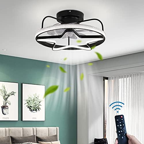 Ventilador de Techo Con Iluminación Regulable LED Silencio Lámpara de Techo Con Ventilador 36W 3 Velocidades del Viento Control Remoto Timer Redondo Fan Luz de Techo Cuarto Sala de Estar Comedor