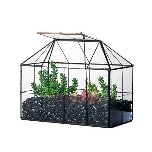 NCYP Glas-Terrarium, geometrisch, schwarzes Gitter, Haus-Form, Dekoration, Sukkulenten, Kakteen Luftpflanzen, Pflanzgefäß, Miniaturbehälter, modernes Tischaufsatz (ohne Pflanzen)
