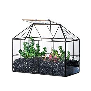 ncyp length 98inches black geometric terrarium planter grid house shape decor glass container box for succulents cacti air plants modern tabletop miniature flower pot no plants and accessories