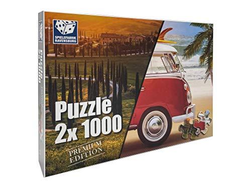 Spielefabrik Ravensburg Puzzle 2 x 1000 Teile - Premium Urlaubs Edition - 2 Motive insgesamt 2000 Teile