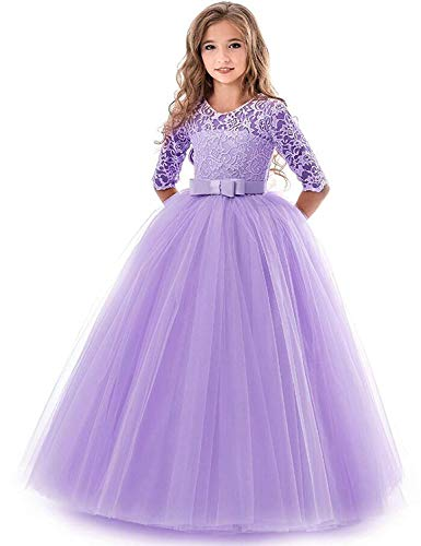 IBTOM CASTLE Brautjungfer Kleider für Mädchen Blumenmädchen Hochzeitskleid Lange Ärmel Schmetterling Festzug Spitze Lila 2-3 Jahre