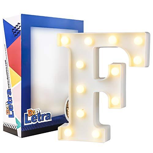 DON LETRA Letras Luminosas Decorativas con Luces LED, Letras del Alfabeto A-Z, Altura de 22cm, Color Blanco - Letra F